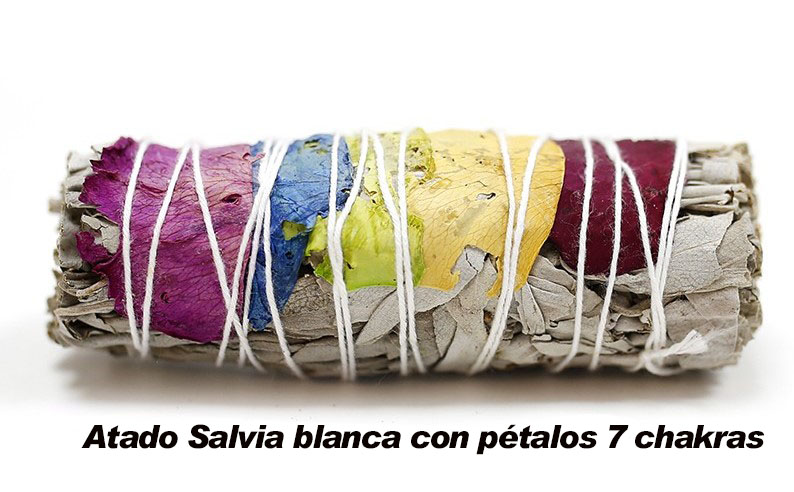 Atado Salvia blanca con pétalos 7 chakras
